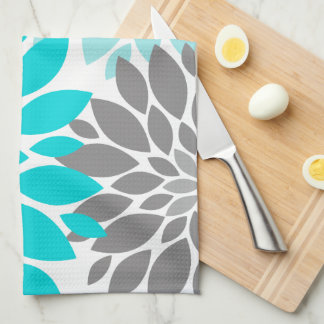 Turquoise and Gray Chrysanthemums Floral Pattern Tea Towel