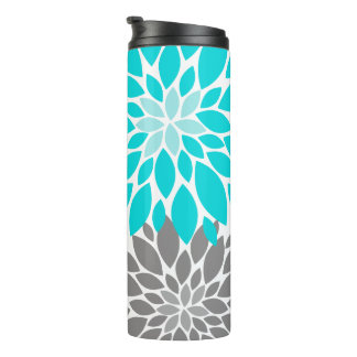 Turquoise and Gray Chrysanthemums Floral Pattern Thermal Tumbler