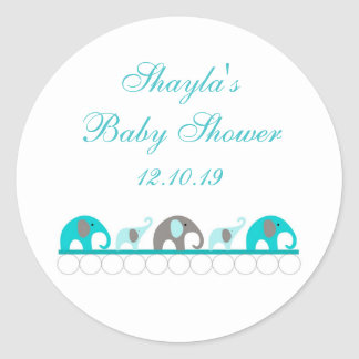 Turquoise and Gray Elephant Baby Shower Favor Classic Round Sticker