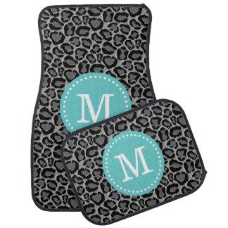 Turquoise and Gray Leopard Print Custom Monogram Floor Mat