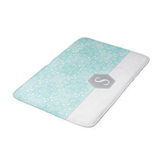 Turquoise and gray monogram pattern template… bath mat