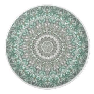 Turquoise and Gray Seasons: Winter Mandala Ceramic Knob