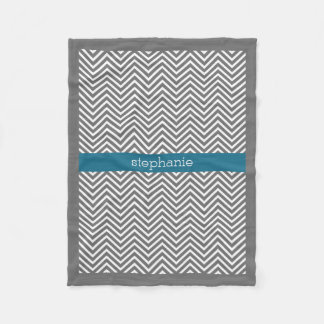 Turquoise and Grey Chevrons Custom Name Fleece Blanket