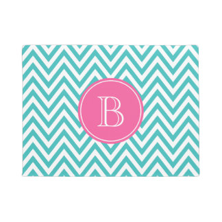 Turquoise and Hot Pink Chevron Custom Monogram Doormat