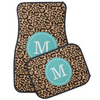 Turquoise and Leopard Print Custom Monogram Floor Mat