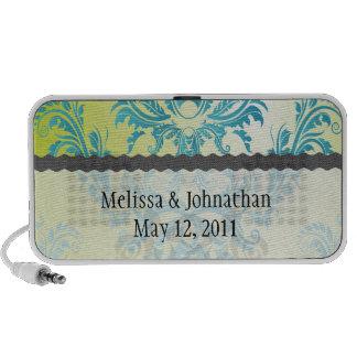 turquoise and lime green damask wedding keepsake notebook speaker
