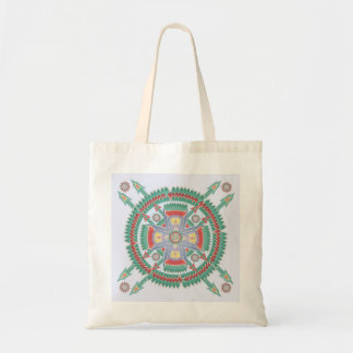 Turquoise and Melon Tribal Mandala Tote Tote Bag