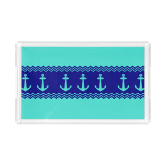 Turquoise And Navy Blue Coastal Pattern Anchors Acrylic Tray