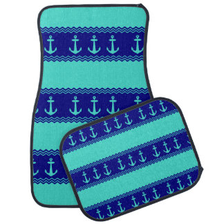 Turquoise And Navy Blue Coastal Pattern Anchors Car Mat