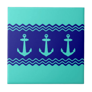 Turquoise And Navy Blue Coastal Pattern Anchors Small Square Tile