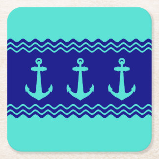 Turquoise And Navy Blue Coastal Pattern Anchors Square Paper Coaster