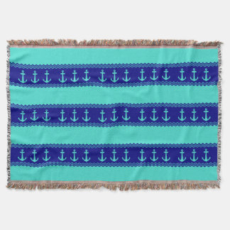 Turquoise And Navy Blue Coastal Pattern Anchors Throw Blanket