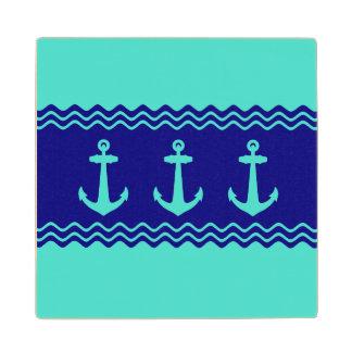 Turquoise And Navy Blue Coastal Pattern Anchors Wood Coaster