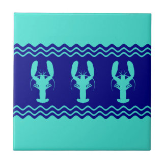 Turquoise and Navy Blue Coastal Pattern Lobster Small Square Tile