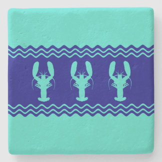 Turquoise and Navy Blue Coastal Pattern Lobster Stone Coaster