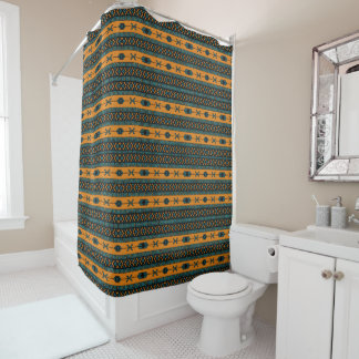 Turquoise  And Orange Aztec Pattern Shower Curtain