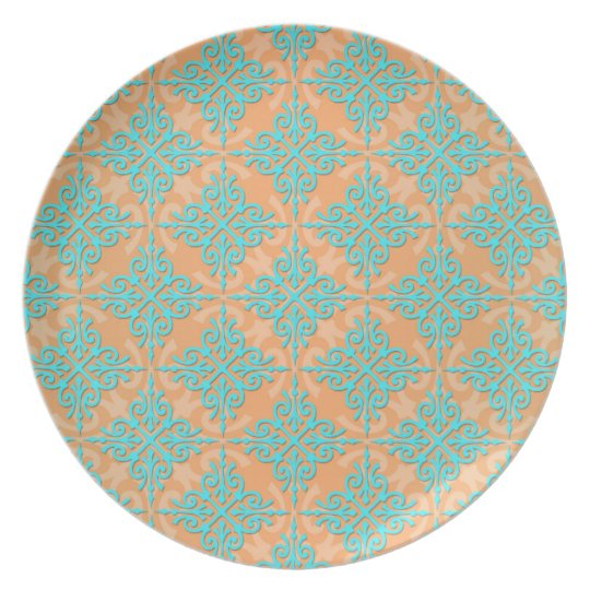 Turquoise and Orange Damask Pattern Plate