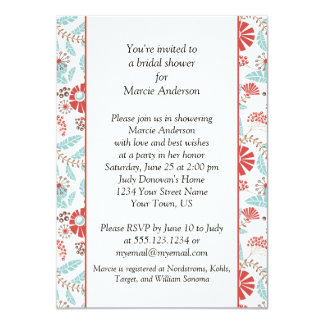 Turquoise and Orange Floral Bridal Shower Invite