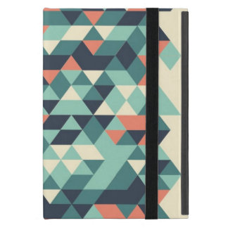 Turquoise and Orange Geometric Triangle Pattern Cover For iPad Mini