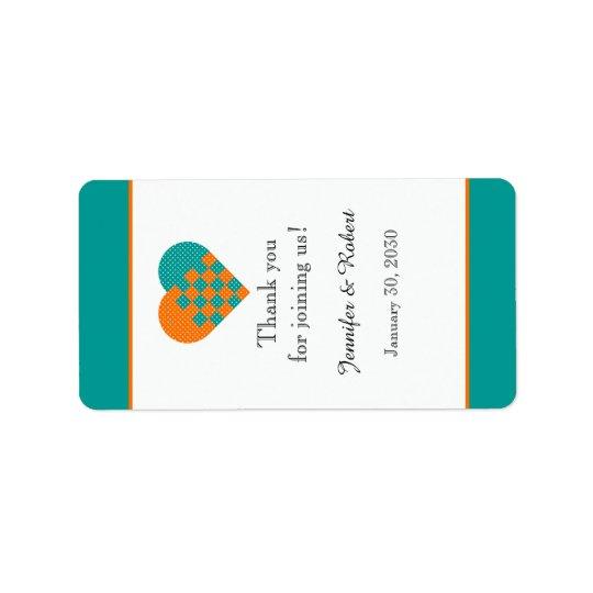 Turquoise and Orange Heart Lip Balm Label Address Label