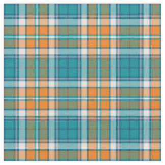 Turquoise and Orange Sporty Plaid Fabric