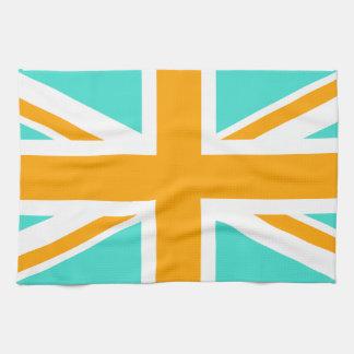 Turquoise and Orange Union Jack Tea Towel
