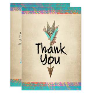 Turquoise and Parchment Floral Arrow Bohemian Card