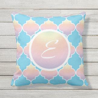 Turquoise And Pastel Quatrefoil Monogram Cushion