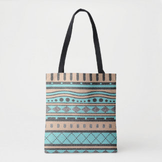 Turquoise And Peach Tribal Pattern Tote Bag