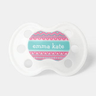Turquoise and Pink Aztec Chevron Custom Monogram Dummy