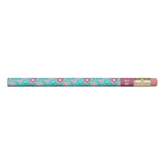 Turquoise and pink circular floral monogram pencil
