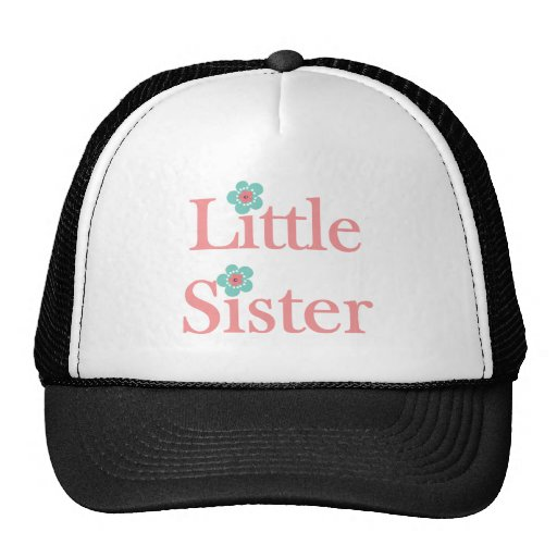 turquoise and pink flower little sister trucker hats