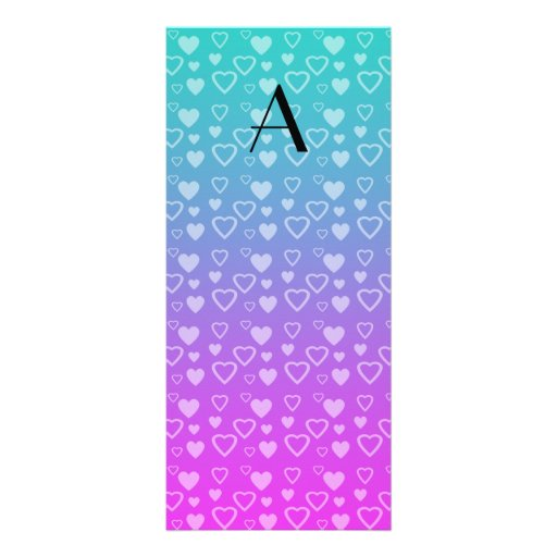 Turquoise and pink hearts monogram personalized rack card