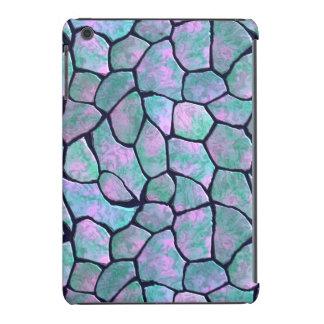 Turquoise and pink mosaic stones seamless pattern iPad mini retina covers