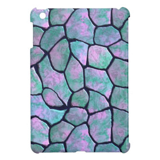 Turquoise and pink mosaic stones seamless pattern iPad mini cases