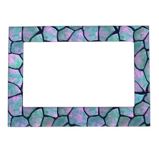 Turquoise and pink mosaic stones seamless pattern photo frame magnets