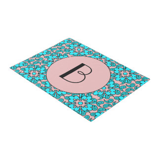 Turquoise And Pink Paisleys Monogram Doormat