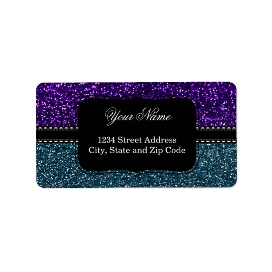 Turquoise and Purple Glitter Sparkles Address Label