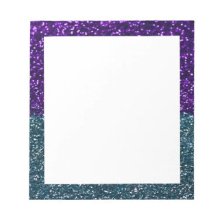 Turquoise and Purple Glitter Sparkles Notepad