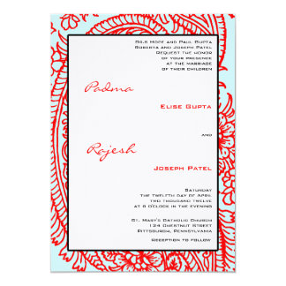 Turquoise and Red Paisley Indian Wedding Card