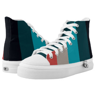 Turquoise and Red Stripes High Tops