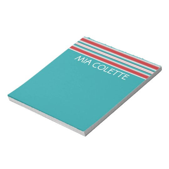 Turquoise and Red Stripes Personalised Notepad