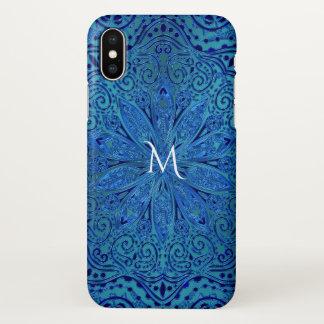 Turquoise and Royal Blue Mandala Monogram iPhone X Case