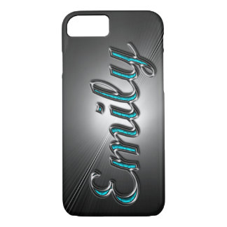"Turquoise and Silver Design name ""Emily"" iPhone 7 Case"