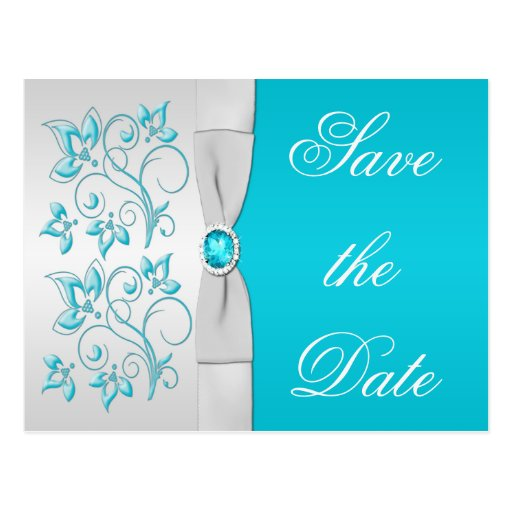 Turquoise and Silver Floral Save the Date Post Card