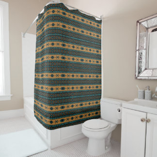 Turquoise  And Tan Aztec Pattern Shower Curtain