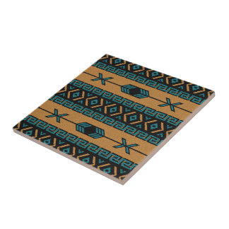Turquoise And Tan Southwest Aztec Pattern Ceramic Tile