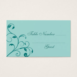 Turquoise and Teal Curls Wedding Table Place Cards