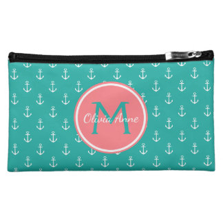 Turquoise and White Anchors With Coral Monogram Cosmetics Bags