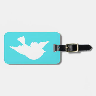 Turquoise and White Bird Silhouette Luggage Tag